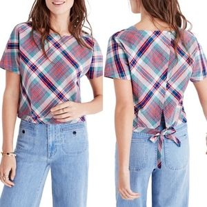 Madewell Plaid Cropped Tie Back Top